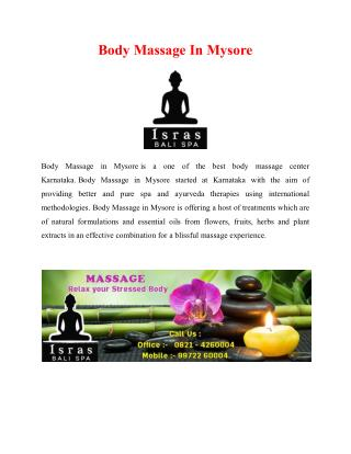 Body Massage in Mysore | Body Massage Center in Mysore