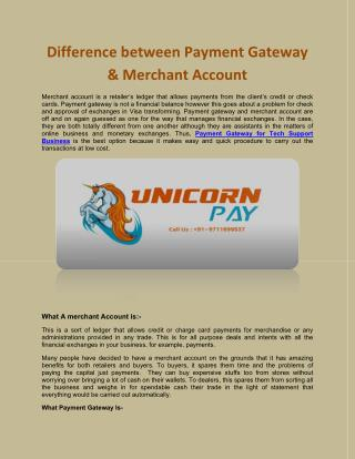 Difference between Payment Gateway & Merchant Account