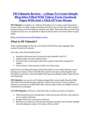 FB Vidmatic Review and (Free) GIANT $14,600 BONUS