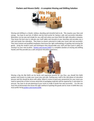 Packers and Movers Delhi – A complete Moving and Shifting Solution