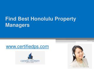 Find Best Honolulu Property Managers - www.certifiedps.com