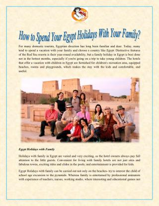 How to Spend Your Egypt Holidays With Your Family?