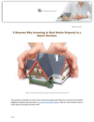 5 Reasons Why Investing in Real Estate Property Is a Smart Decision
