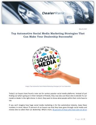 Top Automotive Social Media Marketing Strategies That Can Make Your Dealership Successful