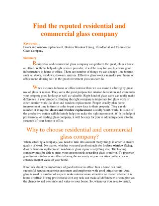 Find the reputed residential and commercial glass company