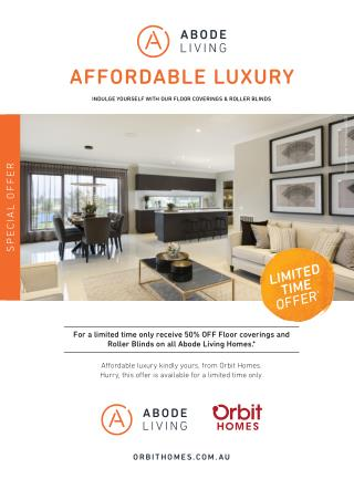 Get 50% off Floor Coverings and Roller Blinds on Abode & Signature Homes – Orbit Homes