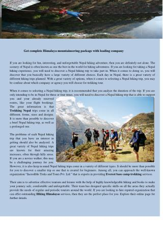 Get complete himalaya mountaineering package with leading company