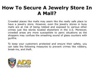 How to Make Your Jewelry Store Secure in Malls?
