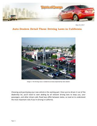 Auto Dealers Detail These Driving Laws in California