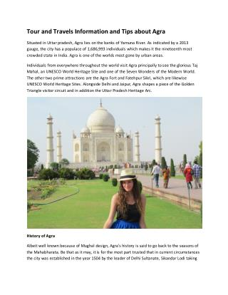 Tour and Travels Information and Tips about Agra