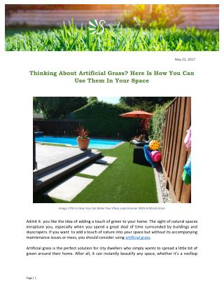 Thinking About Artificial Grass? Here Is How You Can Use Them In Your Space