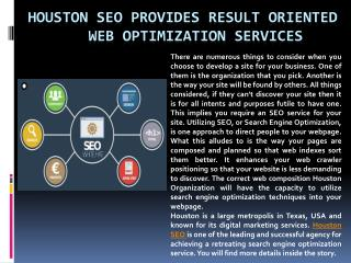 Houston SEO Provides Result Oriented Web Optimization Services
