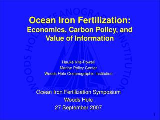 Ocean Iron Fertilization: Economics, Carbon Policy, and  Value of Information