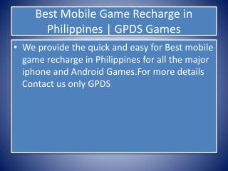 Best Mobile Game Recharge in Philippines