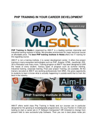 PHP TRAINING IN YOUR CAREER DEVELOPMENT