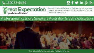 Professional Keynote Speakers Australia- Great Expectation