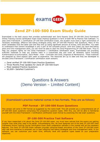 ZF-100-500 Exam Questions - Zend Framework 1 Exam Dumps