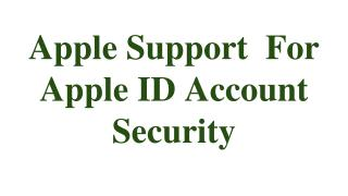 Apple Support  For Apple ID Account Security