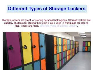 Different Types of Storage Lockers
