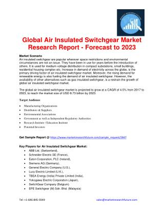 Global Air Insulated Switchgear Market Research Report - Forecast to 2023