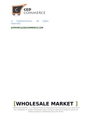 Wholesale Market | WooCommerce Extension – CedCommerce
