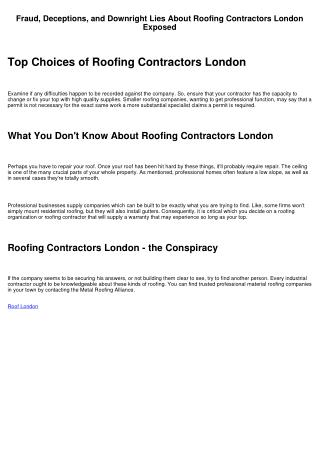 The Roofing Contractors London Diaries