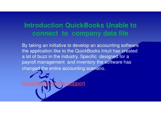 Quickbooks unable to connect company data file