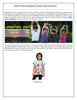 Online Clothes Shopping- Oxolloxo Kids Collection