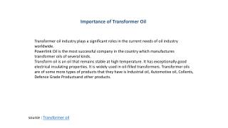 Importance of Transformer Oil