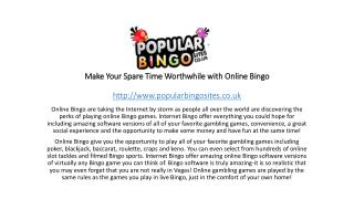 Make Your Spare Time Worthwhile with Online Bingo