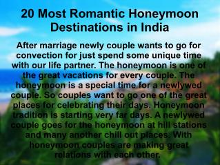 20 Most Romantic Honeymoon Destinations in India