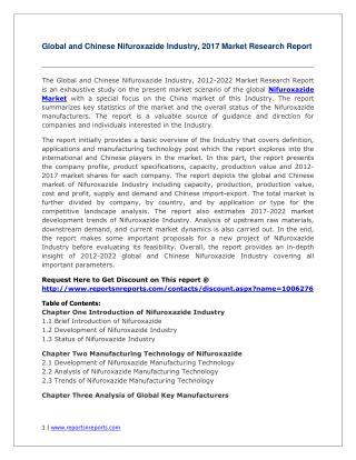 Nifuroxazide 2012-2022 Analysis, Trends and Forecasts