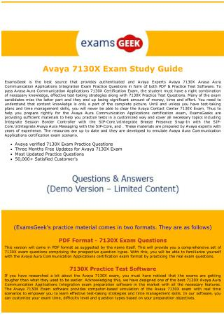 7130X Exam Dumps - Avaya Contact Center Exam Dumps PDF