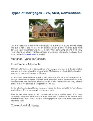 Types of Mortgages – VA, ARM, Conventional