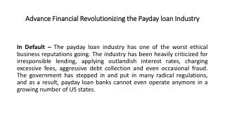 Advance financial revolutionizing the payday loan industry