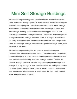Mini Self Storage Buildings