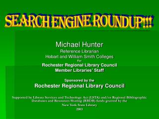 Michael Hunter Reference Librarian Hobart and William Smith Colleges For Rochester Regional Library Council Member Libra