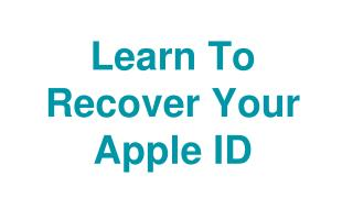 Learn To Recover Your Apple ID