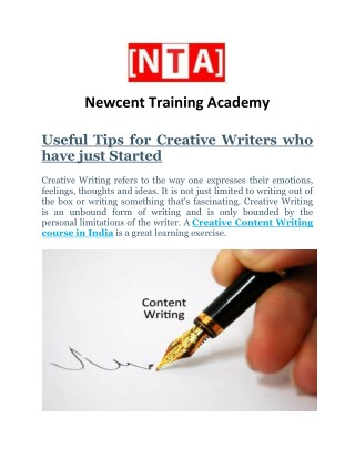 Creative content writing course in India | Newcent