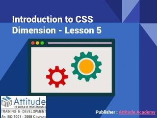 Introduction to CSS Dimension - Lesson 5
