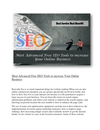 Most Advanced Free SEO Tools to increase Your Online Business