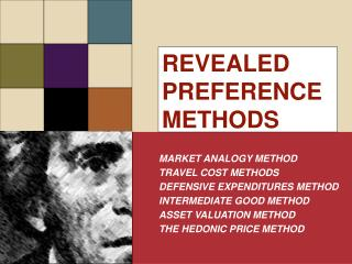 REVEALED PREFERENCE METHODS