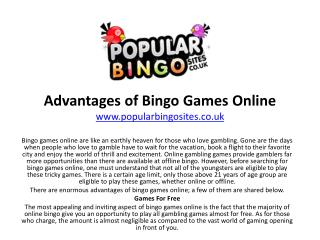 Advantages of Bingo Games Online