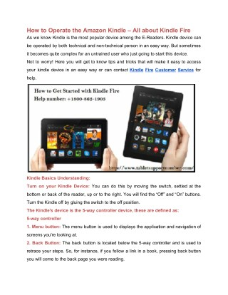 How to Operate the Amazon Kindle – All about Kindle Fire