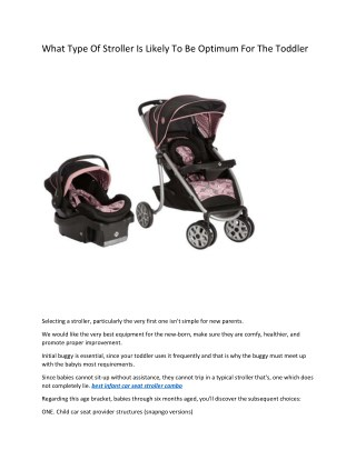 What Type Of Stroller Is Likely To Be Optimum For The Toddler