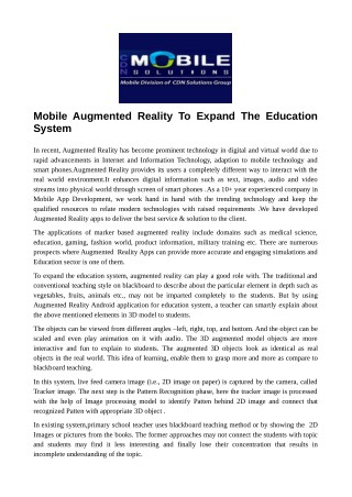 Mobile Augmented Reality To Expand The Education System