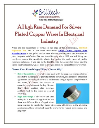 A High Rise Demand For Silver Plated Copper Wires In Electrical Industry