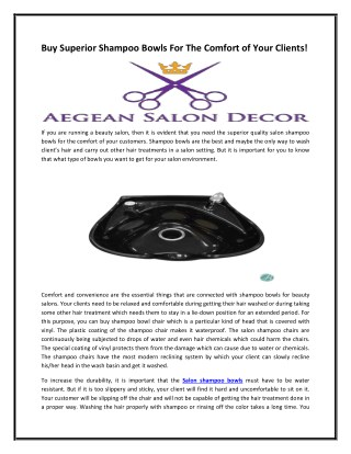 Buy Superior Shampoo Bowls For The Comfort of Your Clients