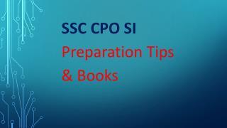SSC CPO SI Preparation Tips & Books