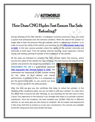 How Does CNG Hydro Test Ensure The Safe Refueling?